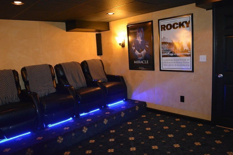 Basement Home Theater Movie Room Ideas Boston MA South Shore Enchanting Basement Remodeling Boston Ideas Design