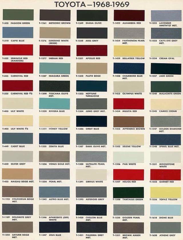 Toyota Paint Codes | Car paint colors, Paint color chart ...