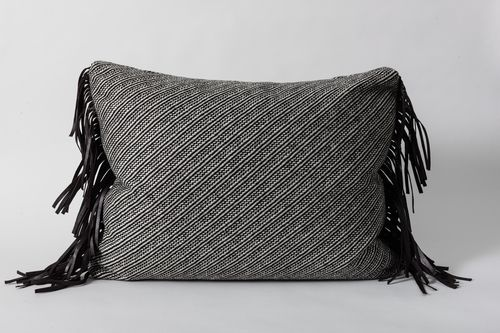 wool & leather fringe pillow | wendyhaworthdesign.com