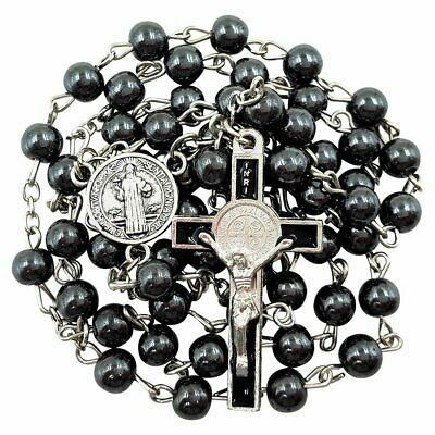 (eBay)(Sponsored) Blessed Catholic Rosary Necklace Black Hematite Beads Saint Benedict Medal Amp; #catholicrosaries