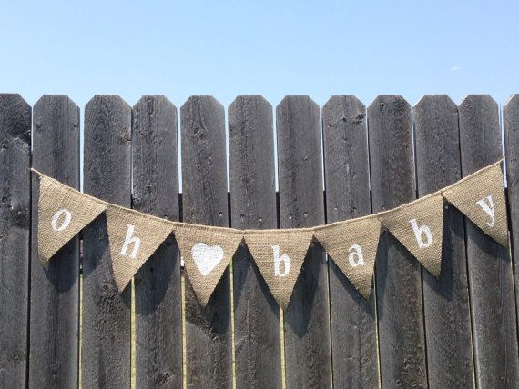 OH BABY BANNER, Oh Baby Baby Shower, Burlap Baby Shower Decorations, Baby  Banner