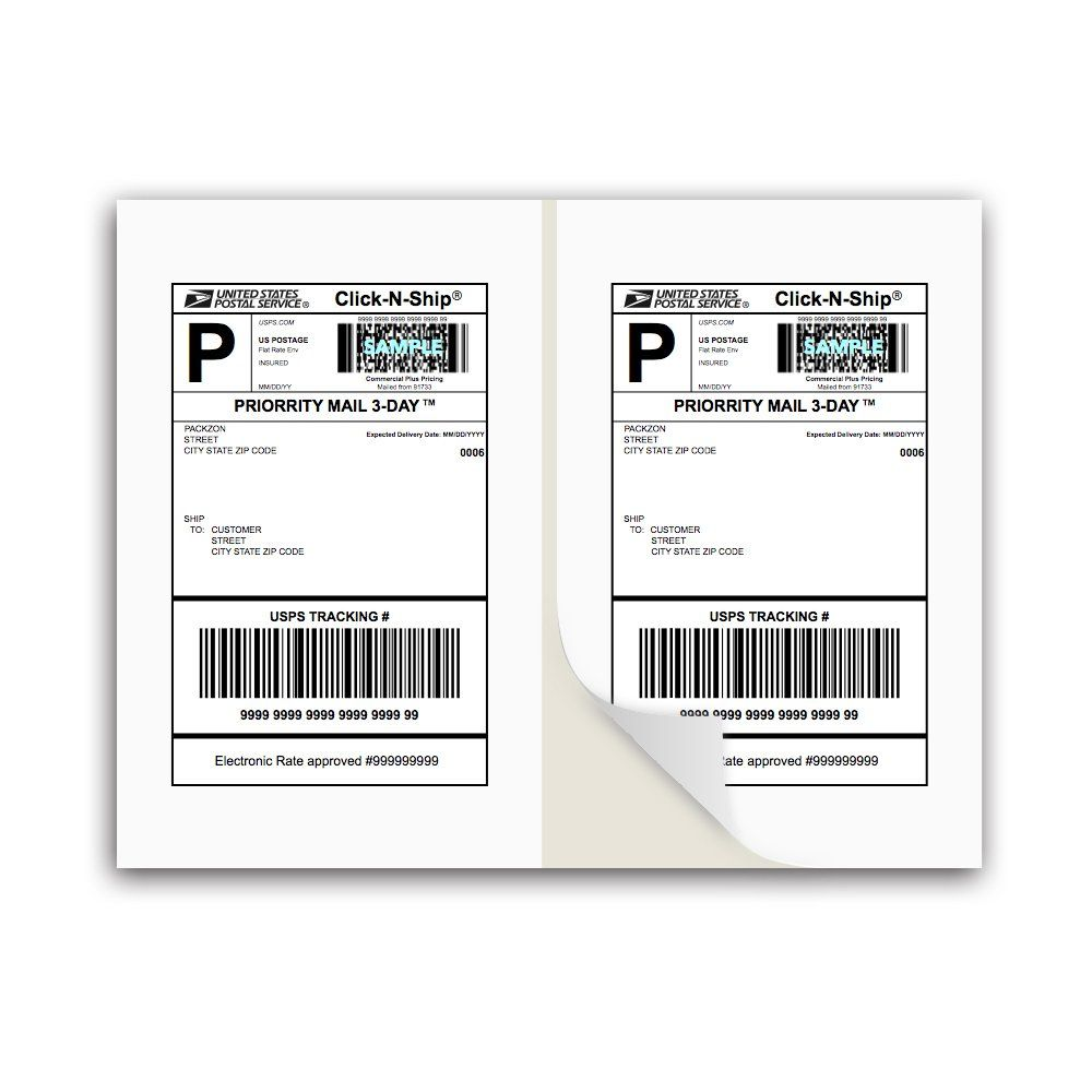 Packzon Shipping Labels With Self Adhesive Square Corner For Laser Inkjet Printers 8 5 X 5 5 Inches Shipping Labels Shipping Label Printer Printing Labels