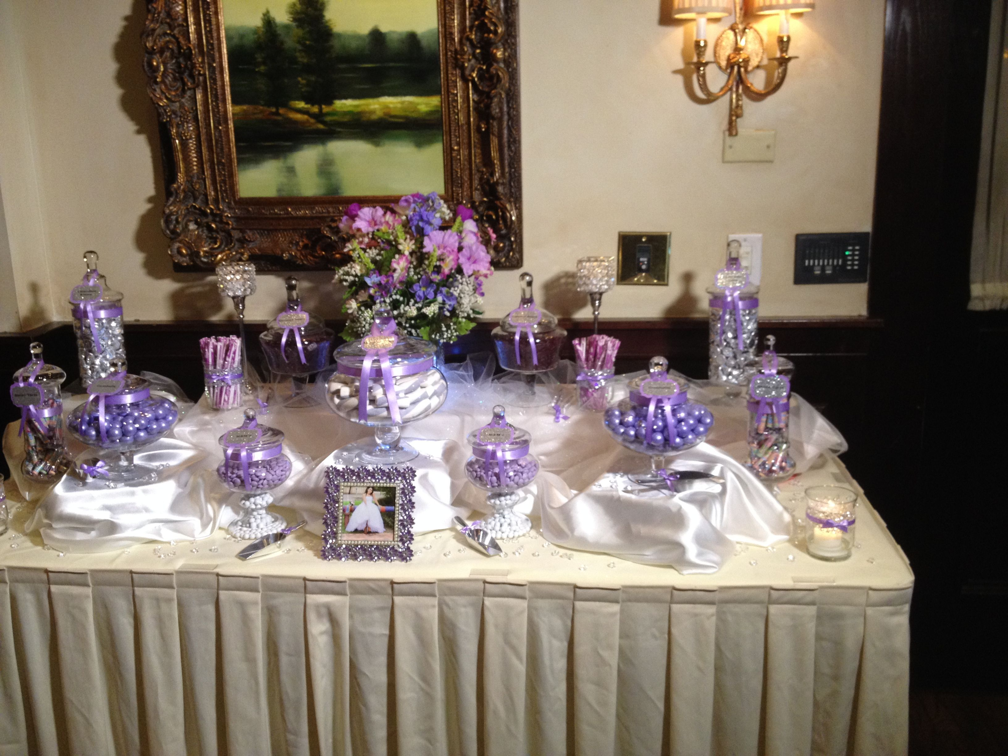 35 purple and white wedding candy buffet ideas table for Decoration sweet table