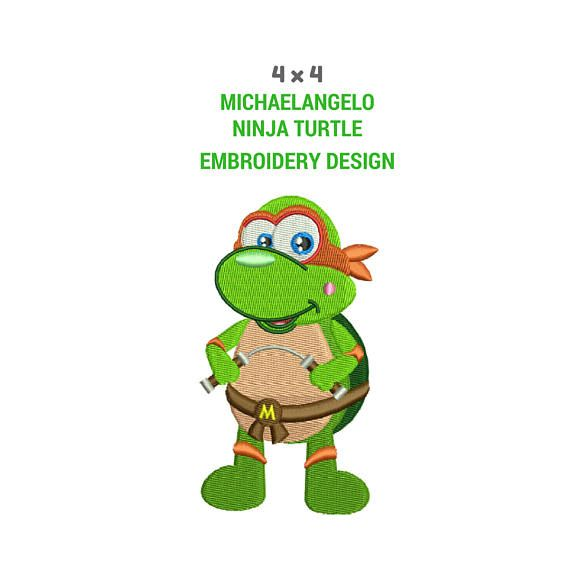 Michaelangelo Embroidery Design Ninja Turtle Embroidery Image