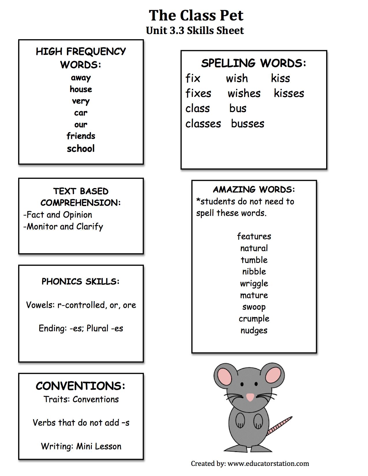 3 3 The Class Pet Skills Sheet
