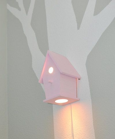 Avery In Xoxo Pink Modern Birdhouse Lamp For Baby