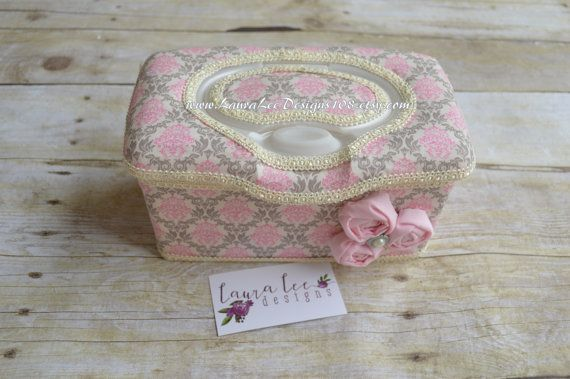 Small Pink and Gray Damask on Cream Flip Top by LauraLeeDesigns108