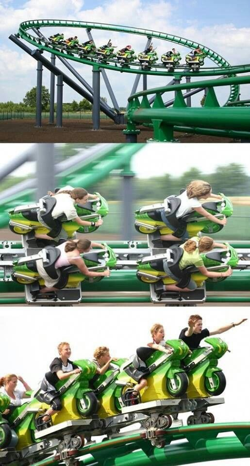 Motorcycle Rollercoaster In Towerland Holland Amusement Park Rides Roller Coaster Rollercoaster Funny