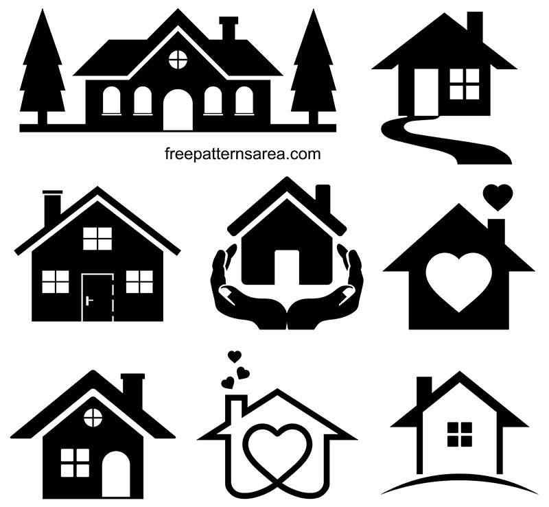 House Silhouette Clipart Vector Illustrations Freepatternsarea House Silhouette Clip Art House Drawing