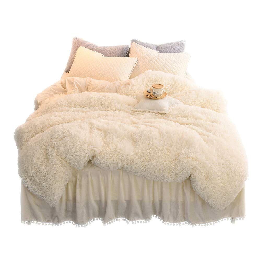 Liferevo Luxury Plush Shaggy Duvet Cover Set 1 Faux Fur Duvet Cover 2 Pompoms Fringe Pillow Shams Solid Zipper In 2020 Duvet Cover Sets Duvet Bedding Duvet Covers