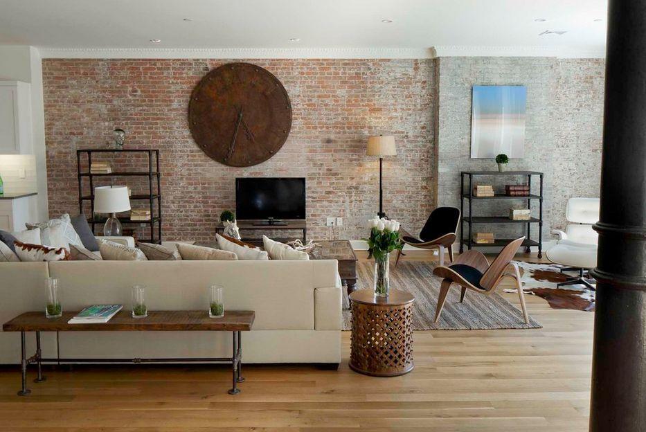 Fantastic Brick Wall Decor To Your Home Retro Modern Living Room