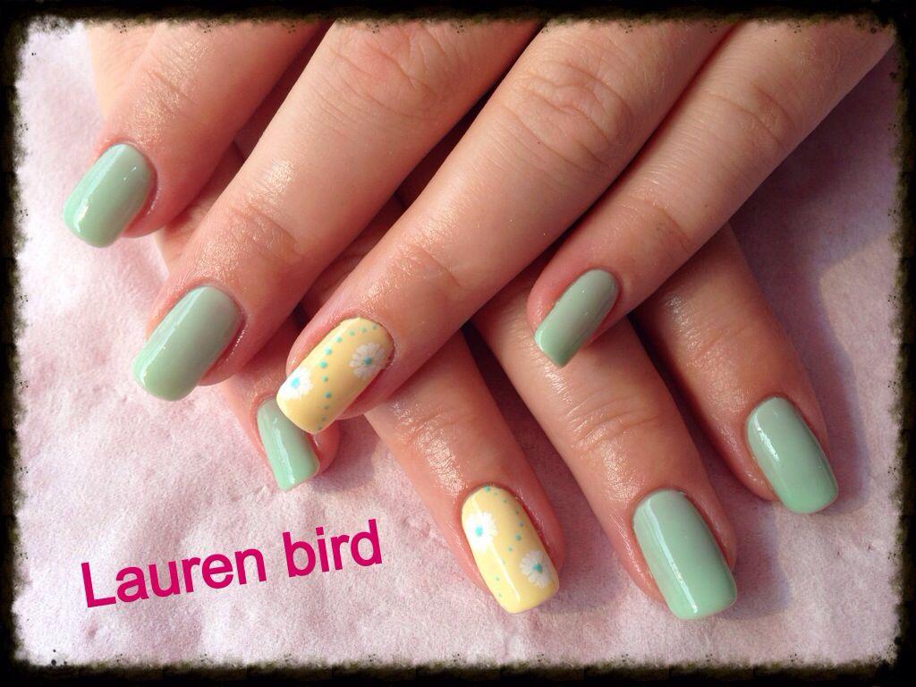 Lauren bird, CND shellac over natural nail, mint convertible, sunset ...