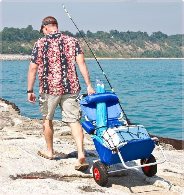 Plegable carro de playa con sombrilla ajustable