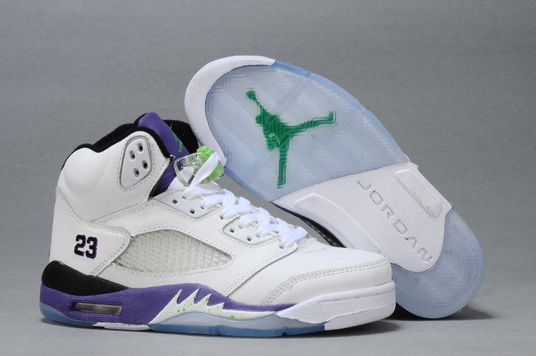 super popular c5741 fbdb2 Air Jordan 5 Retro GS White New Emerald Grape Ice Black Womens Basketball  Shoes