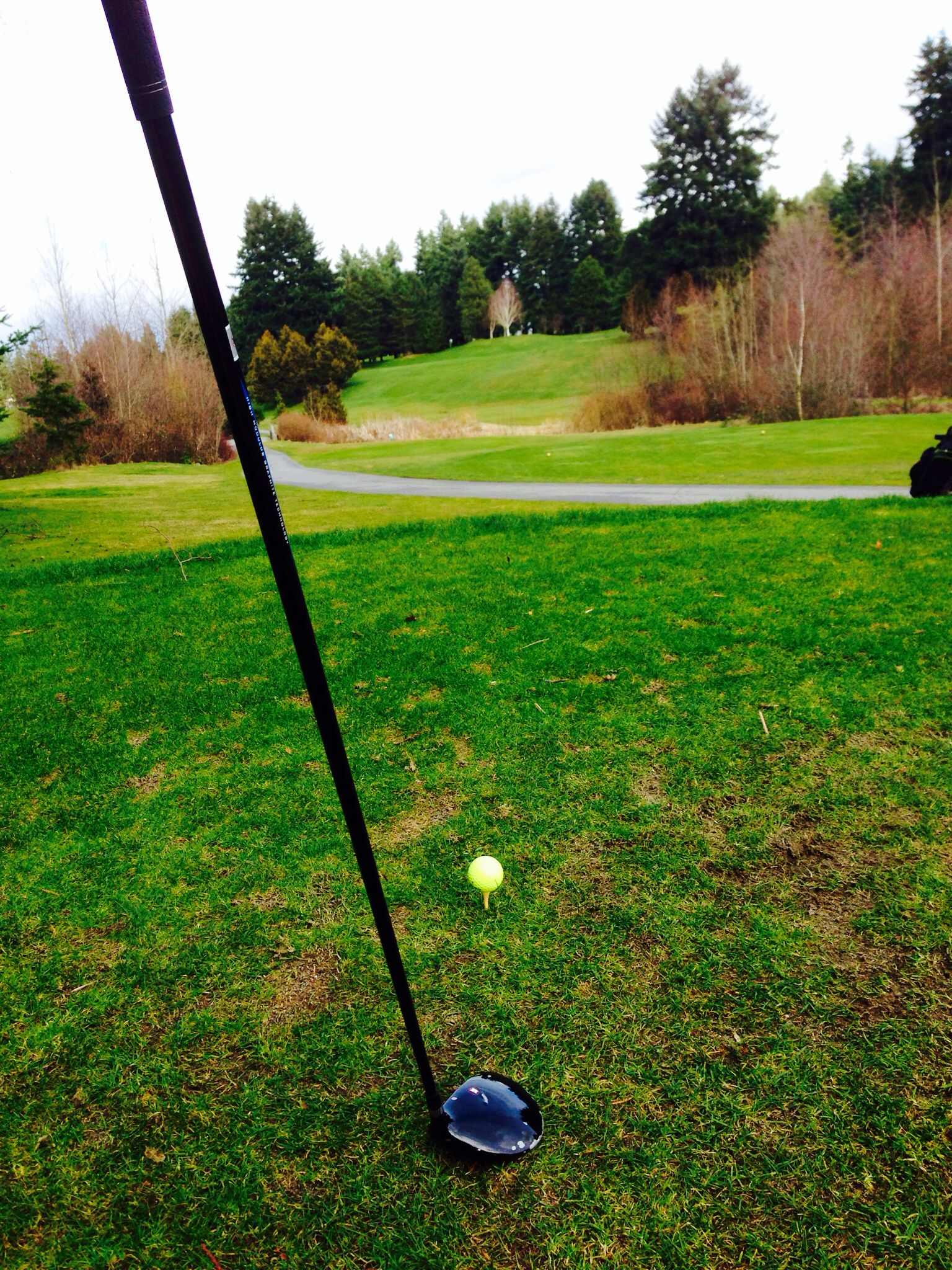 Teeing off w/5 wood!