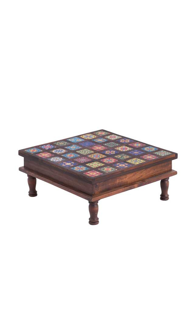 Wooden Foot Stool Tile Inlay Desert Designs Custom Made