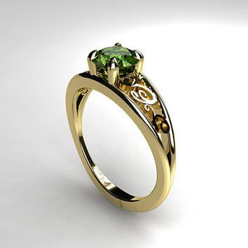 peridot engagement ring filigree white gold yellow gold unique engagement green - Peridot Wedding Rings