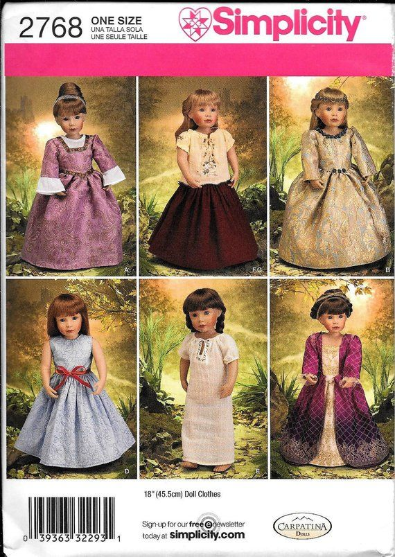 Simplicity 2768 American Girl 18 Doll Clothes Sewing Pattern Carpatina Renaissance Dress Costume UN #historicaldollclothes