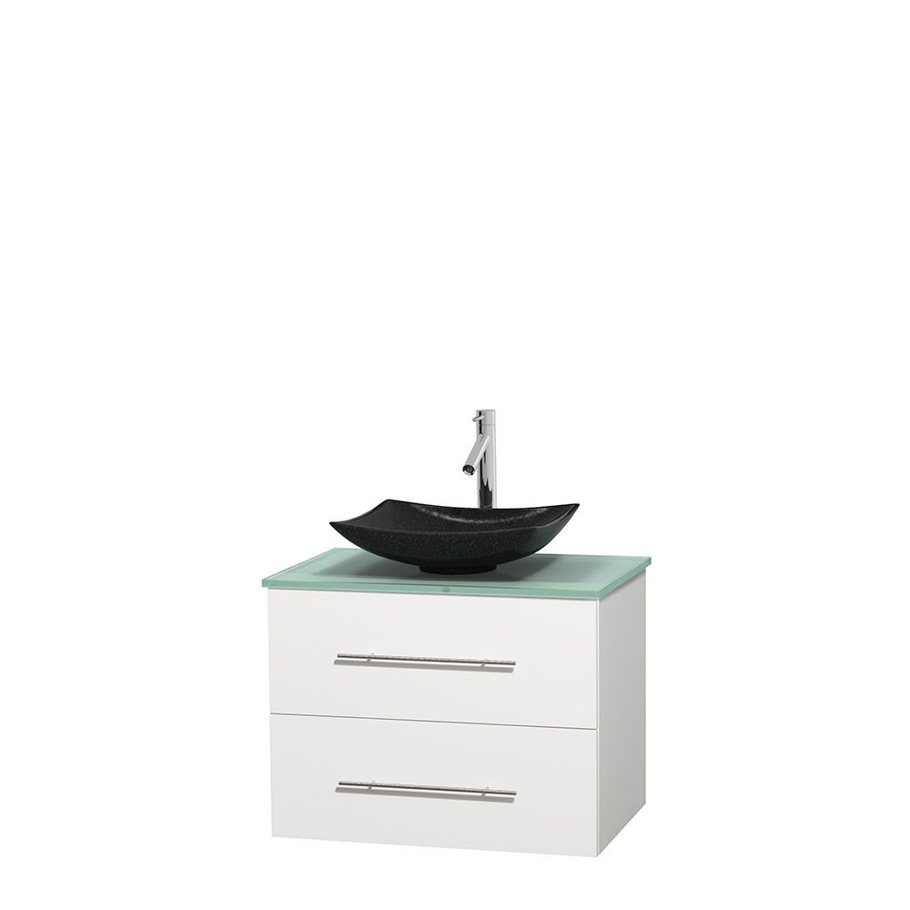 Wyndham Collection Centra 30 Inch Single Bathroom Vanity In White, No  Mirror (Black Granite, Ivory Marble Or White Carrera) (30 White,GN Glass  Top,Arista ...