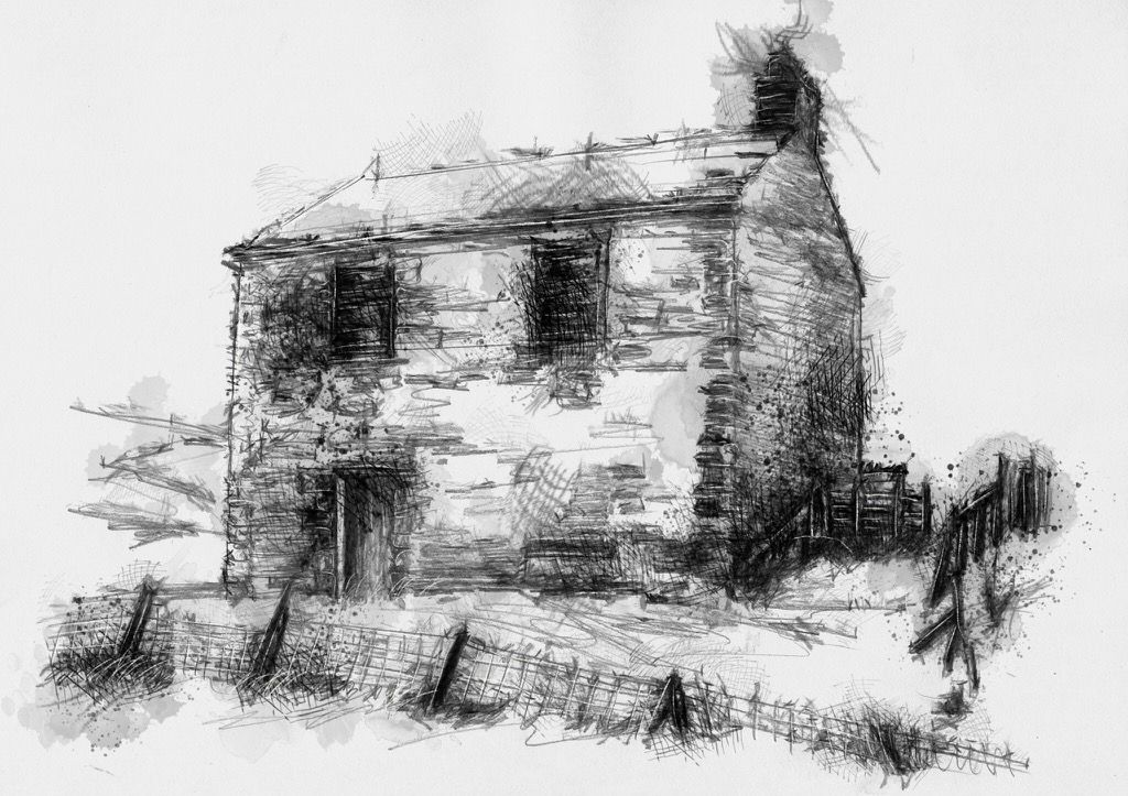 Abandoned House Pen And Ink Art Watercolor Art