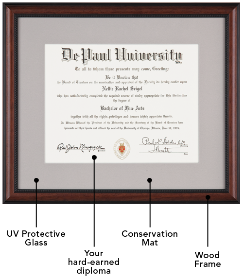 Fine wood frame, single conservation-quality mat, and UV-filtering ...