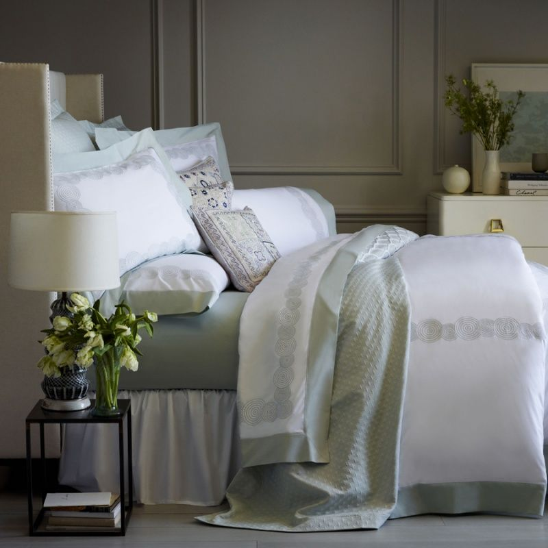 white circle embroidered sheets u0026 bedding in silver sage green or cornflower blue sferra ponti