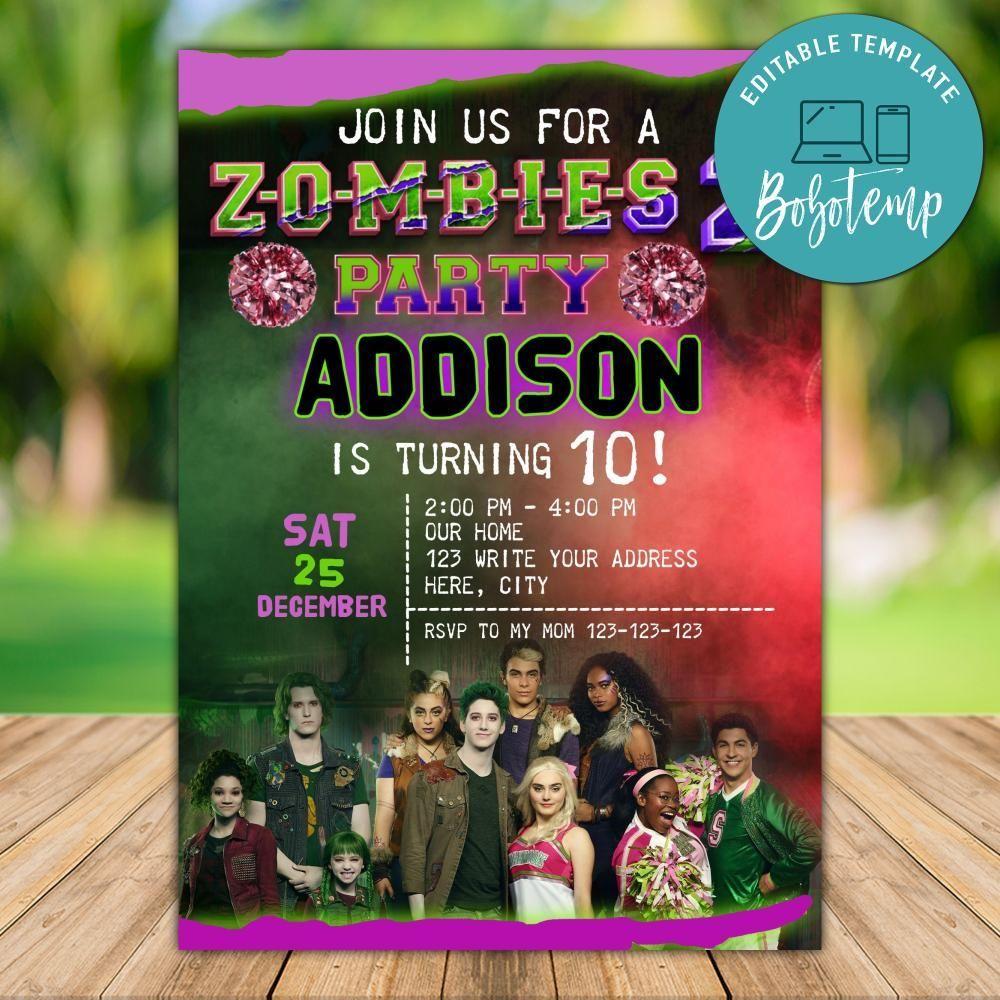 editable disney zombies 2 birthday