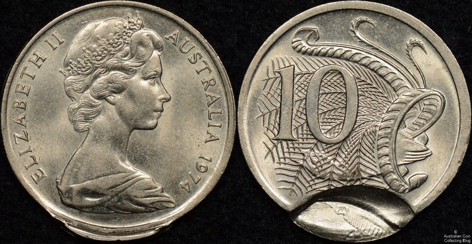 Australia 1974 10 cent coin indent and partial brockage