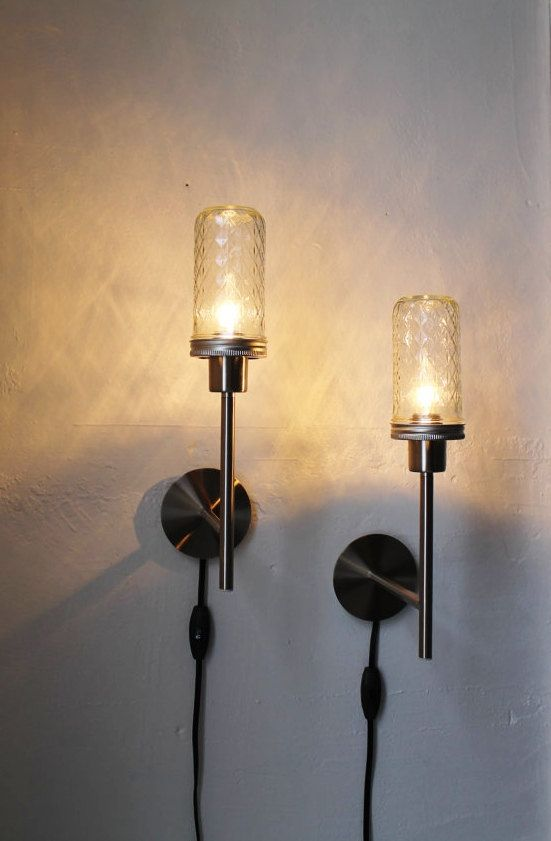 2 Mason Jar Wall Sconce Lamps Set Of Two Industrial Stainless