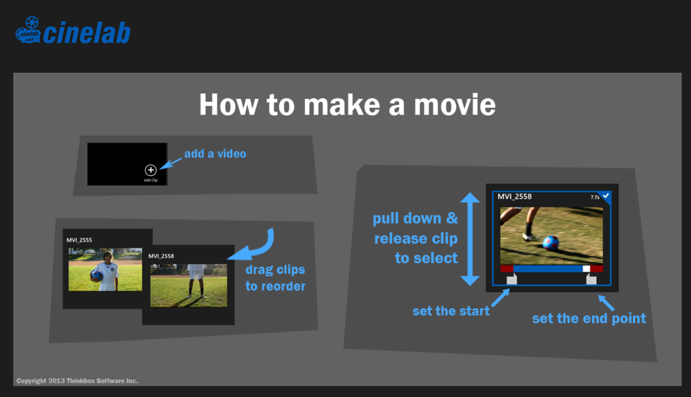 Cinelab is a free Windows 8 app for quickly editing videos on your computer  or Windows 8 phone.