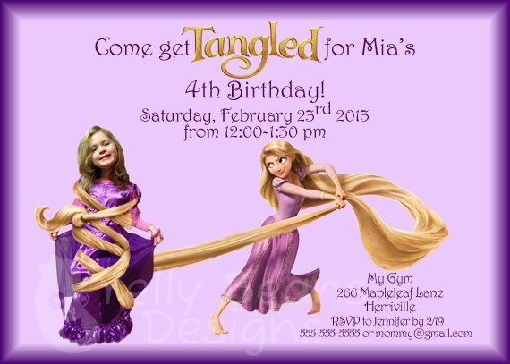 tangled rapunzel princess personalized birthday invitation, add a,