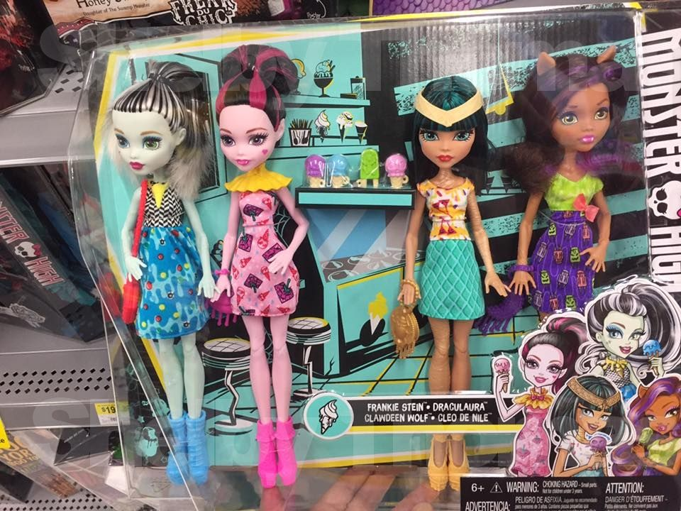 New Monster High 4-pack including Frankie Stein, Draculaura, Cleo De Nile & Draculaura found at Walmart !! Creit to Shelby Thomas