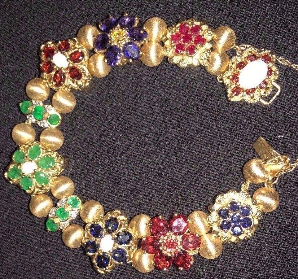 81771028ab950 Details about 14k Yellow Gold R Klein KLJCI Sapphire & Diamond Slide ...