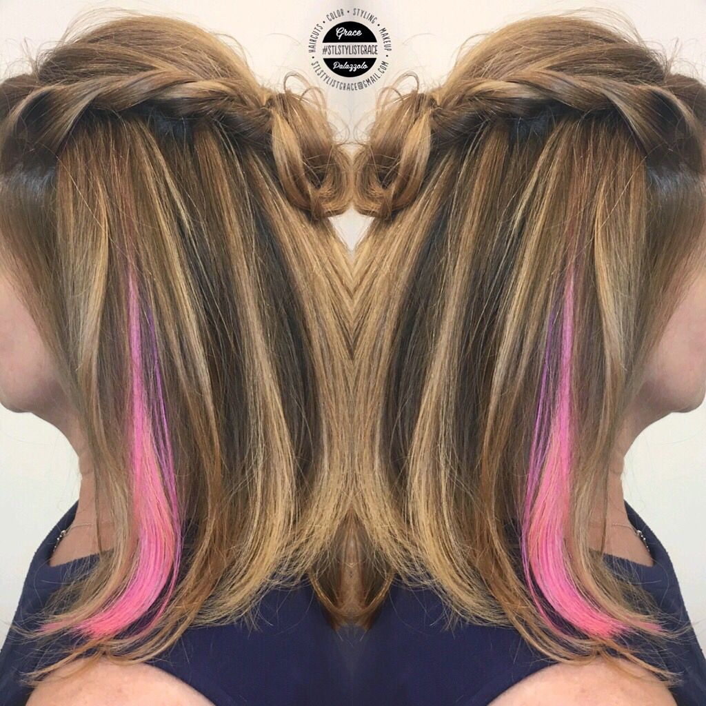 Pin By Sarah Hanks On Hair In 2020 Pink Hair Highlights Ombre Hair Color For Brunettes Blonde With Pink