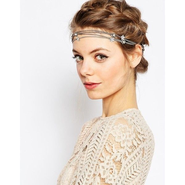 ASOS Wrap Daisy Chain Hair Clips (53 SAR) ❤ liked on Polyvore featuring accessories, hair accessories, crystal, hair clip accessories, jeweled hair clips, barrette hair clip, flower hair clip and asos
