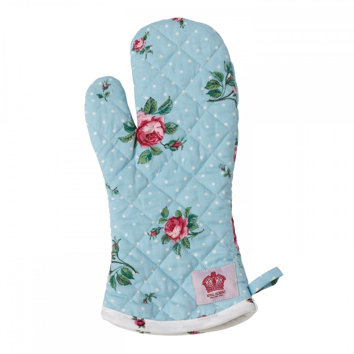 Polka Blue with Rose Bud Trim Ovenglove | Home | Pinterest | Rose ...