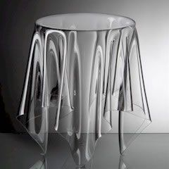 The ESSEY Grand Illusion Table   Clear:Designed By John Brauer.Materials:  Handmade In Denmark Of PMMA Acrylic.