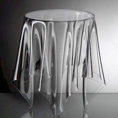 3 Plexiglas Bijzettafeltjes.Draped Clear Lucite Plexiglass Table Acrylic Side Table Acrylic