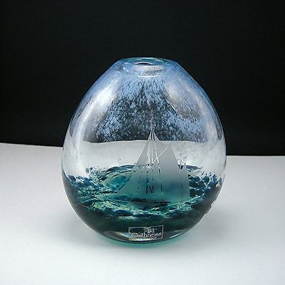 """Caithness Glass Scotland Etched Yacht in Sea 4 5"""" Art Glass Vase Paperweight 