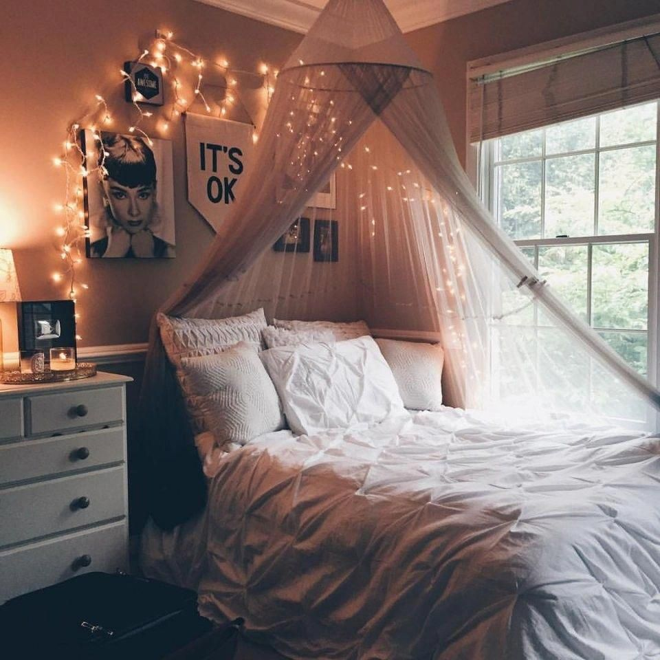 Canopy Beds And Pixie Lights Are The Greatest Romantic Bedroom Design Room Makeover Bedroom Design