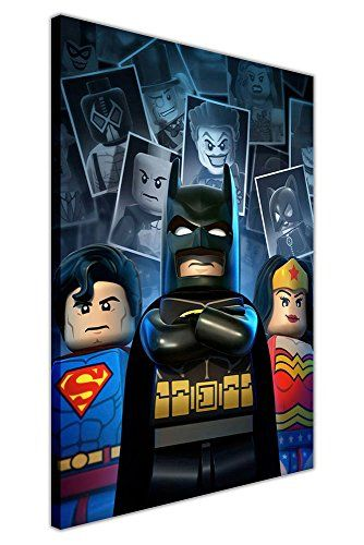 Portrait Canvas Wall Art Pictures Dc Comics Lego Superman