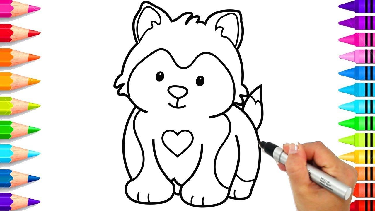 How To Draw A Cute Dog How To Draw A Husky Pup How To Draw A Bull Do Husky Puppy A Husky Dog Coloring Page [ 720 x 1280 Pixel ]