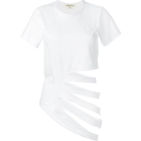 Comme Des Garçons Cut-Out Detail T-Shirt (419 085 LBP) ❤ liked on Polyvore featuring tops, t-shirts, white, comme des garcons t shirts, cut-out tops, comme des garcons tee, white cotton tops and cut out t shirts