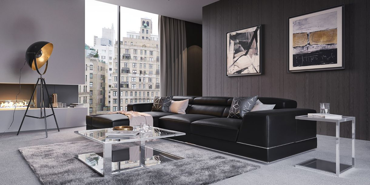 Cool Bergamo Sectional Sofa Black In 2019 Styled By Modani Pabps2019 Chair Design Images Pabps2019Com