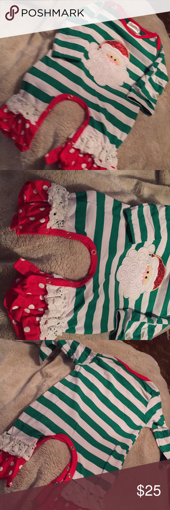Girls Christmas onesie- green and white stripes Cute infants girl Christmas  outfit. All in one with snaps at the legs. Outfit is green and white stripes  ... c0206a599