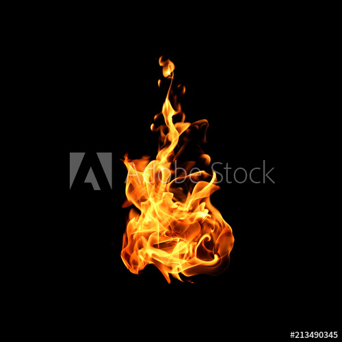 Fire flames on black background. Stock Photo