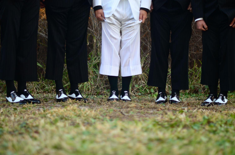 black and white beach wedding. groom and groomsmen pic