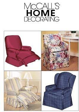 Mccall39s m4069 sewing pattern recliner wingback chair slip for Furniture cover sewing patterns