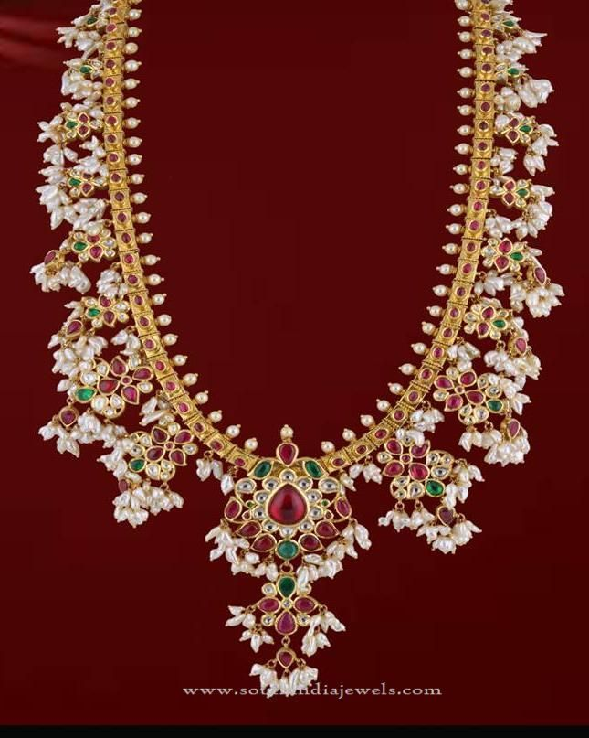 Gold Guttapusalu Necklace from PSathyanaranayan Sons Necklace