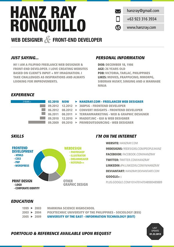 Web Design Resume Resume Design Pinterest Design resume - front end developer resume